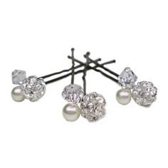 Crystal Pearl and Diamante Hairpins