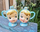 Vintage Napco Miss Cutie Pie Salt and Pepper Shakers, Collectible, Epsteam