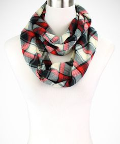 Love this Red & Black Classic Plaid Infinity Scarf by Modadorn on #zulily! #zulilyfinds