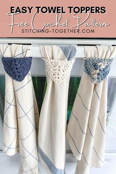 Crochet Dish Towels, Crochet Towel Topper, Crochet Kitchen Towels, Crochet Potholders, Kitchen Towels Hanging, Crochet Towel Holders, Kitchen Towels Crafts, Knit Kitchen Towel Pattern, Kitchen Decor