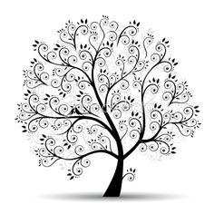 Art tree beautiful, black silhouette Royalty Free Stock Vector Art Illustration