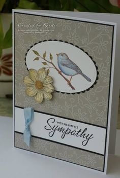Sympathy cards by CraftyKristi - Cards and Paper Crafts at Splitcoaststampers Could use with Best Birds stamp set Homemade Greeting Cards, Greeting Cards Handmade, Embossed Cards, Stamping Up Cards, Bird Cards, Get Well Cards, Sympathy Cards, Cute Cards, Creative Cards