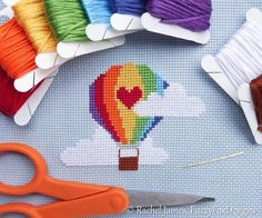 Cute Rainbow Hot Air Balloon Easy Beginners by FuzzyFoxDesigns