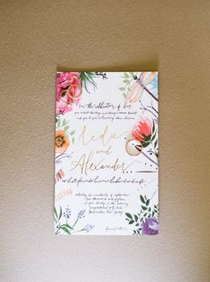 Colorful floral inspired wedding invitation: http://www.stylemepretty.com/new-jersey-weddings/2015/12/14/jewel-toned-autumn-wedding/ | Photography: Lindsay Madden - http://lindsaymaddenphotography.com/
