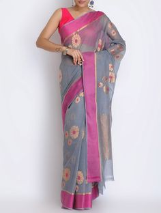 Grey-Fuschia Kota Doria Cotton Zari Handwoven Saree by Ekaya on Jaypore.com