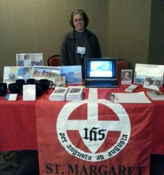 Sr. Sarah representing the Sisters of St. Margaret at a conference.