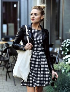 Black leather jacket and gingham dress