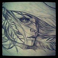 Native Indian Woman Drawing Group of: wind in my hair we heart it Native American Drawing, Native American Tattoos, Native Tattoos, Native American Girls, American Gypsy, American Indians, S Tattoo, Tattoo Drawings, Art Drawings