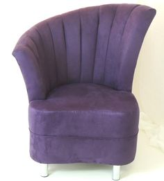 ART DECO STYLE PURPLE SUEDE FAN CHAIR WITH BEECH / MAHOGANY OR CHROME LEGS | eBay