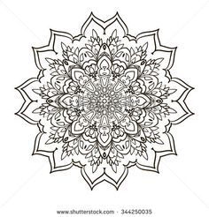 Ornamental round floral pattern. Colorful ornament with vintage elements Mandala. Vector Ethnic Oriental Circle Ornament. Monochrome Colors White and black abstract floral element