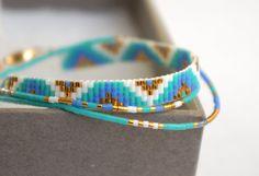 Check the way to make a special photo charms, and add it into your Pandora bracelets. Set of 5 Miyuki beaded bracelets handmade Gold by YRSarmcandy Diy Bracelets How To Make, Handmade Bracelets, Handmade Jewelry, Loom Bracelet Patterns, Bead Loom Bracelets, Pandora Bracelets, Bead Jewellery, Beaded Jewelry, Miyuki Beads