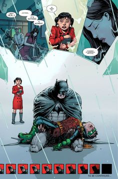 30 Greatest Comic Book Moments Of 2013 The Death of Damian Wayne, the latest person to wear the Robin costume. Nightwing, Batgirl, Son Of Batman, Batman Family, Batman Robin, Gotham Batman, Batman Art, Comic Book Characters, Comic Book Heroes