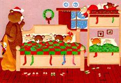 Curtis Swann embossed Christmas card Teddy Bears all nestled
