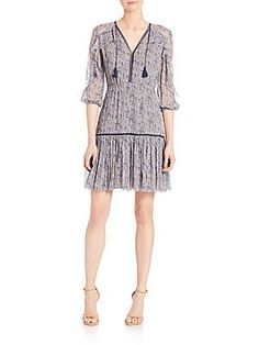 Elie Tahari Landon Dress - Cocoa - Navy - Size
