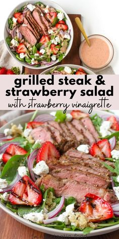 This strawberry summer salad with steak features a homemade strawberry vinaigrette dressing that's to die for! With quinoa, grilled strawberries, goat cheese, baby spinach, arugula, juicy steak, and lots more goodness, this tasty spinach salad recipe is always a hit. Good Steak Recipes, Best Salad Recipes, Salad Recipes For Dinner, Dinner Salads, Delicious Dinner Recipes, Beef Recipes, Real Food Recipes, Healthy Recipes, Healthy Lunches