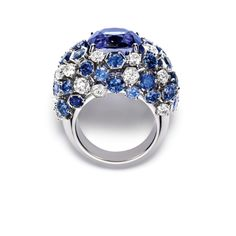 Chaumet. White gold ring with diamonds, sapphires and purple sapphires