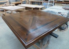 French Style Parquetry Inlay Square Dining Table with Pedestal Base
