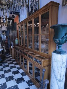 Two Rare 1900's Pharmacy Display Cases. | From a unique collection of antique and modern apothecary cabinets at https://www.1stdibs.com/furniture/storage-case-pieces/apothecary-cabinets/