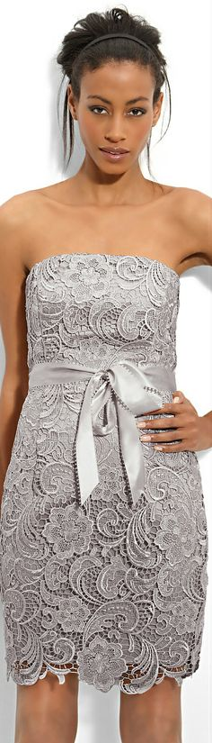 Adrianna Papell ● Silver Lace Sheath Dress