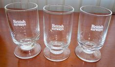 3 British Airways BA United Kingdom Airlines Airplane Crystal Shot Glass Glasses