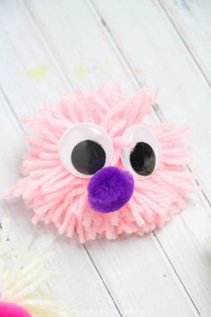 If crafting with kids, acrylic is the most affordable option, but if you want something soft and silky, go for a silk or silk-wool blend yarn. Yarn Crafts For Kids, Bug Crafts, Easy Crafts, Valentine Activities, Fun Activities For Kids, Pom Pom Maker, How To Make A Pom Pom, Pom Pom Crafts, Love Bugs