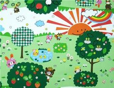 Park Bear Kokka Fabric from Japan kawaii