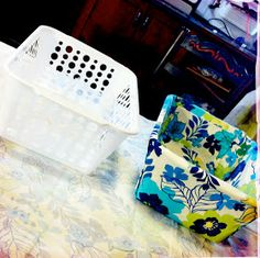 """""""DIY Fabric Covered Bins w/no sewing! Dollar Store basket, any fabric and some spray adhesive...quick & cheap little project!"""" ... love it!"""