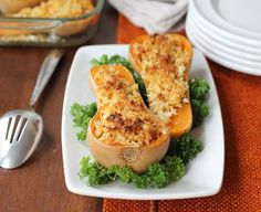 Twice-Baked Butternut Squash with Quinoa, Pine Nuts, and Gruyere