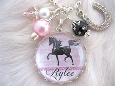 HORSE Necklace Bottle cap Pendant, Horse shoe charm, Equine Equestrian, riding jewelry, Gift Present, Mother Kids Grandmother. $22.50, via Etsy.