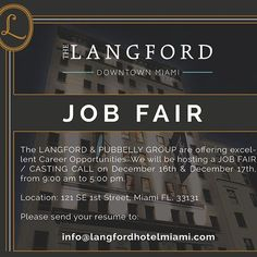 Join The Langford and be a part of the team redefining the soul of #DowntownMiami ! December 16 & 17th  9 AM - 5 PM Details are available on our blog: www.thelangfordmagazine.com  @pubbellyboys @trusthospitality @stambulusa  #storiestotell #thelangfordway #downtownmiami #pubbellyboys #pbstation #pawnbroker