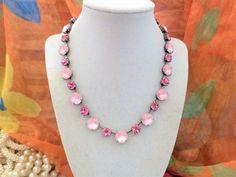 Swarovski Crystal Pink Bridal Necklace, Matte Rose, Rose, 12MM,8MM, Adjustable, Ant silver,DKSJewelrydesigns,FREE SHIPPING