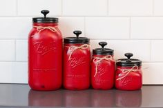 ***last order date to receive by Christmas Make the most of your cupboard or pantry space with this Set of 4 Rustic Canisters! Each set includes one one, & two canisters. Each set is hand painted and distressed to give it that rustic appearance. Mason Jar Gifts, Mason Jar Diy, Canister Sets, Canisters, Bottles And Jars, Glass Jars, Mason Jar Projects, Painted Mason Jars, Canning Jars
