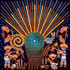 Huichol indian yarn painting of peyote cactus. The Huichol tribe of Mexico have an ancient tradition of using the psychotropic effects of the mescaline in the peyote cactus in their shamanic rituals. Mexican Artists, Mexican Folk Art, Native American Church, Art Visionnaire, Yarn Painting, Maya, Indigenous Art, Art Graphique, Tatoo