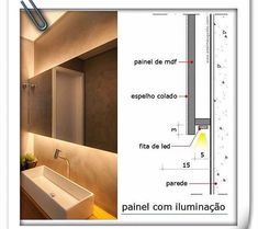 LED cove lighting application options for referenceRisultati immagini per cove lighting detailDiscover thousands of images about Ross MillaneyLighting working drawing for corridors on to floors.How to Install Elegant Cove Lighting - Salvabrani - Salvabran Bathroom Mirror Lights, Bathroom Lighting, Backlit Mirror, Interior Lighting, Lighting Design, Lighting Ideas, Architecture Details, Interior Architecture, Design Interior