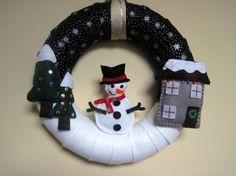 Felt Snowman Christmas Wreath, Winter Scene by Grace's Favours