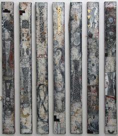 Walter Rast, Combinatie Line Up Gemengde techniek op doek 176 x 16 cm (7x), 2007