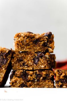 These soft and healthy vegan pumpkin chocolate chip oatmeal bars are made with wholesome ingredients like gluten free oats, applesauce, and pumpkin puree. Keep them refined sugar free by using pure maple syrup and coconut sugar. Recipe on sallysbakingaddiction.com