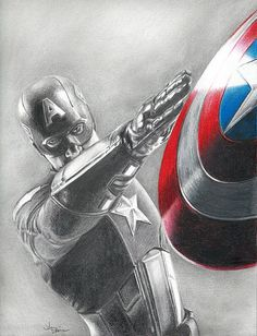 Drawing of Captain America Chris Evans from by JohnDiBiaseArt, $12.00