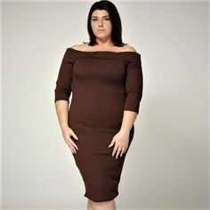 Ribbed Off Shoulder Plus size Dress This is Ribbed Off Shoulder Plus size Dress, it is stretchy, half sleeves and comfy too. It will be a real head turner on your day to evening wear. Black Chiffon Blouse, Off The Shoulder, Shoulder Dress, Half Sleeves, Couture Fashion, Plus Size Outfits, Peplum Dress, Curvy, Dresses For Work