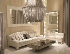 Dressing area with amazing chandelier
