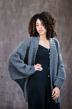 Commit to coziness in a voluminous batwing cardigan knit from Quarry. Multidirectional construction makes for an engaging knit and a visually intriguing garment; the staggered columns of welts and eyelets form an allover scale pattern that shifts direction as you work the sleeve panels upward from the cuffs, then pick up stitches to knit the …