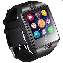 Bluetooth Smart Watch Q18 With Camera Facebook Whatsapp Sync SMS MP3 Smartwatch Support SIM TF Card For IOS Android Phone??lack??? -black