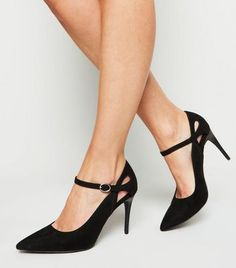 Shop Black Suedette Cut Out Pointed Stilettos. Discover the latest trends at New Look. High Heels Stilettos, Stiletto Heels, Pumps, Vegan Society, New Look, Ankle Strap, Latest Trends, Kitten Heels, Vintage Fashion