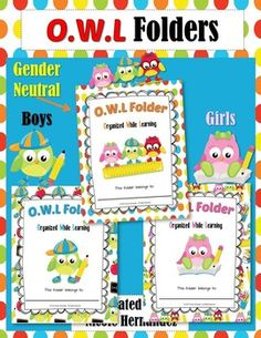 OWL Folder: This is a set of three (3) folders customized into areas; a folder for BOYS, a folder for GIRLS and a GENDER-NEUTRAL folder.~~~~~~~~~~~~~~~~~~~~~~~~~~~~~~~~~~~~~~~~~~~~~ Each set also includes a set of six (6) one inch binder spines in case you are using a binder.