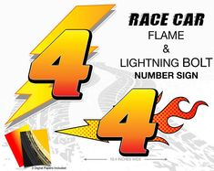 Disney Cars Decorations - Fun race car lightning bolt and flame number. Make race car centerpieces and matching t-shirts. Comes with iron-on transfer and mirror image for both light and dark t-shirts. Car Centerpieces, Birthday Centerpieces, Disney Cars Party, Disney Cars Birthday, Free Printable Invitations, Party Printables, Festa Monster Truck, Traffic Light Sign, Race Car Party