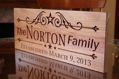 Carved Wood Sign Established Date Wood by BenchMarkCustomSigns, $59.95
