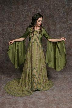 green medieval fantasy dress