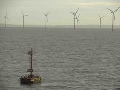 Wind farm in the middle of the coast of Rhyl, North Wales