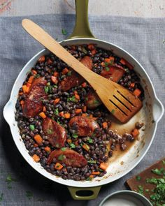 Black Beans and Sausage recipe: Make this quick weeknight meal in 40 minutes using canned black beans and smoked sausage, such as Polish kielbasa.