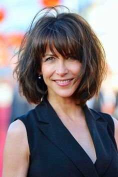 short hairstyles over 50 - Sophie Marceau bob hairstyle with bangs Beautiful short hairstyles over 50 - Sophie Marceau bob hairstyle with bangs The post short hairstyles over 50 - Sophie Marceau bob hairstyle with bangs… appeared first on . Short Hairstyles For Thick Hair, Medium Bob Hairstyles, Hairstyles Over 50, Haircuts With Bangs, Wig Hairstyles, Hairstyle Ideas, Ladies Hairstyles, Hairstyles Pictures, Simple Hairstyles
